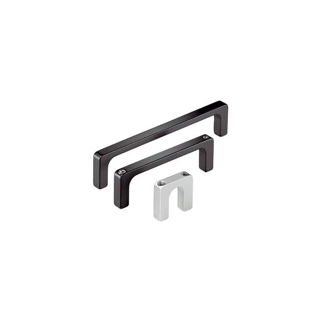 Aluminium handles vibratory grinded, chemically dull-finished and anodized in natural colour or black