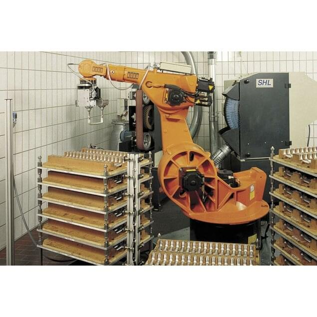 Robot, grinding and brushing unit for large series of aluminium items