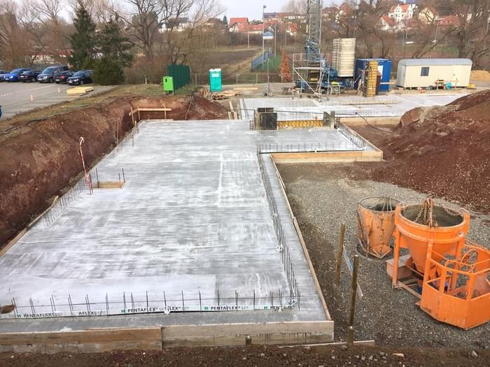 16th building phase: November 2018 - the foundation of the new production hall has been laid