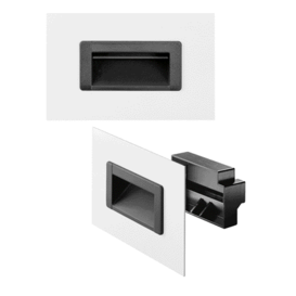Ergonomically formed polyamide trough inset handles, suitable for different wall thicknesses